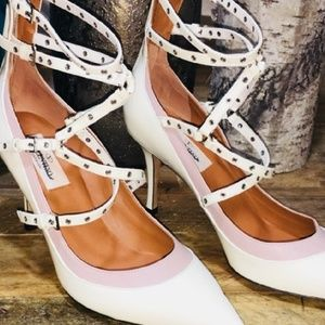Valentino Shoes - Valentino Leather White Ankle Strap